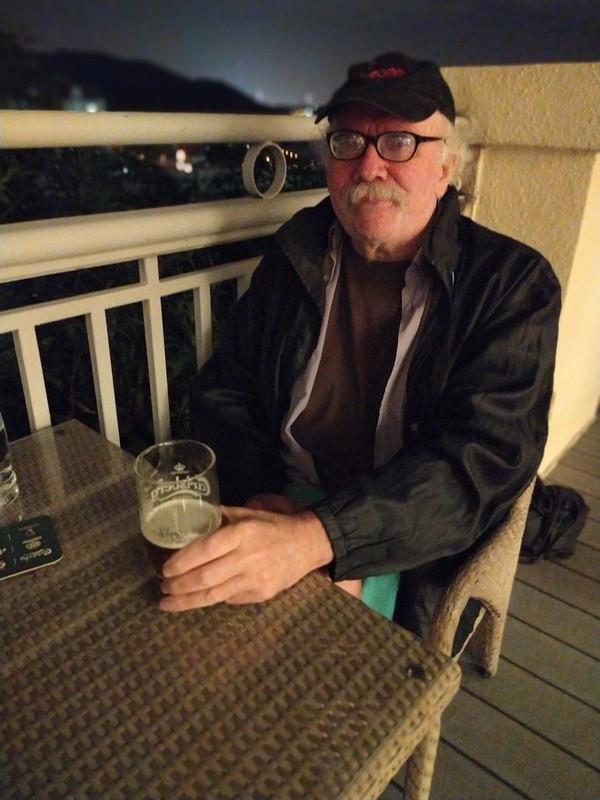 Enjoying a beer at Club Sienna.