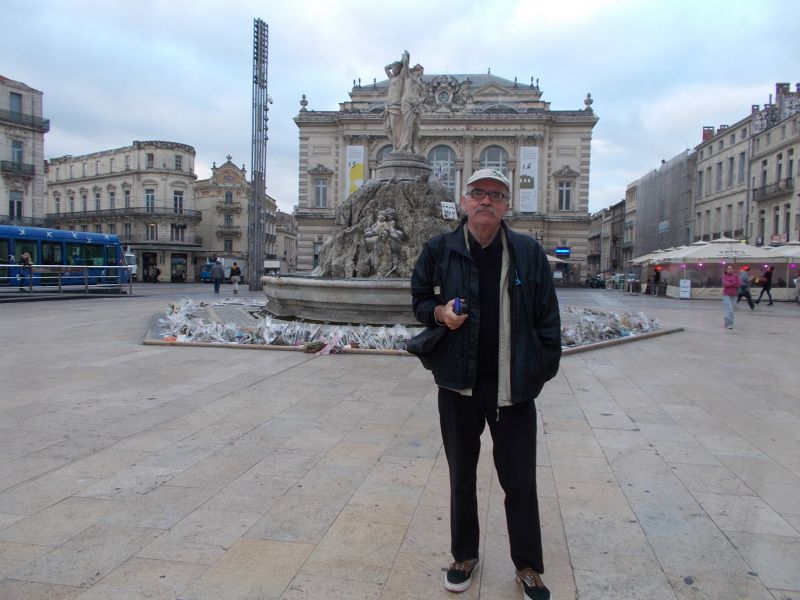 Peter in front of The Three Graces Fountain. - Montpellier