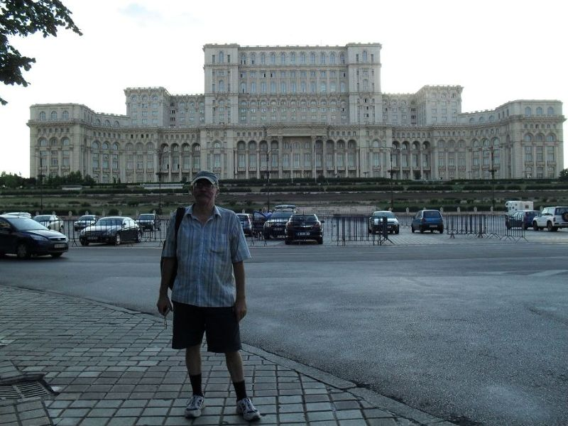 My husband outside the Palace of Parliament - Bucharest