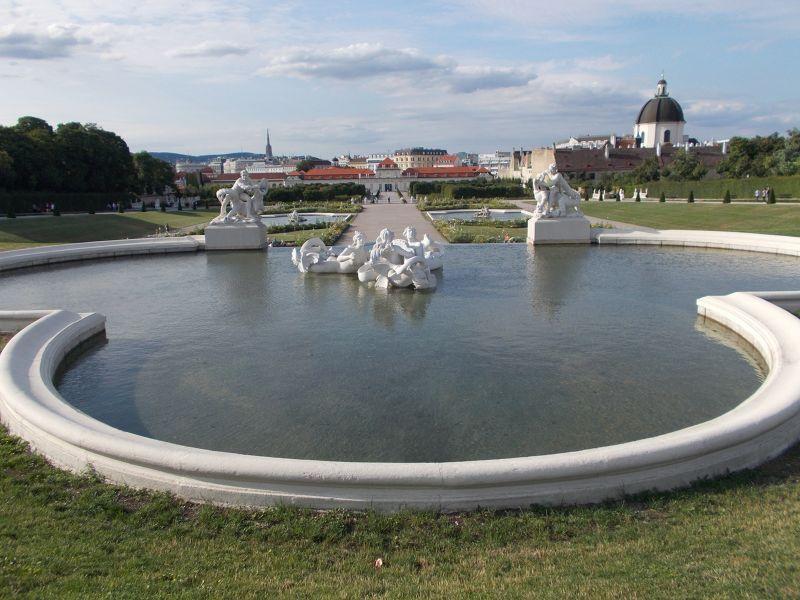 Fountains at the Belvedere Gardens. - Vienna