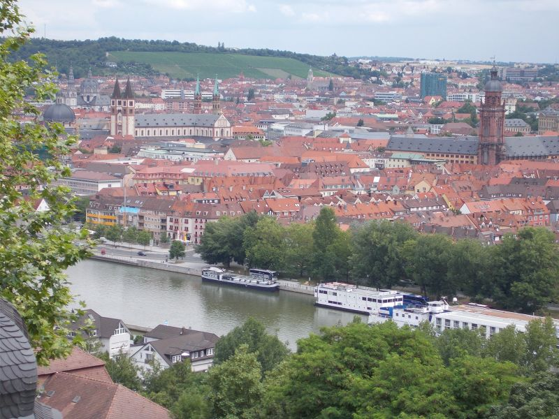 View over town from the Käppele - Würzburg
