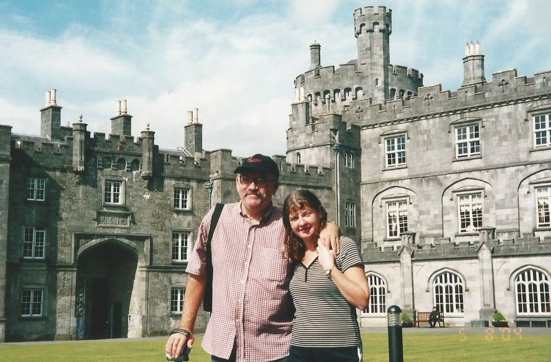 Peter and I outside Kilkenny Castle. - Ireland