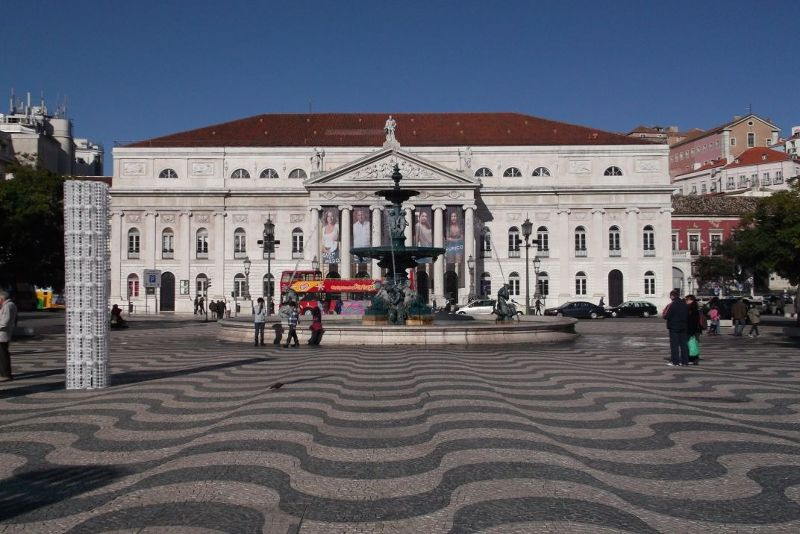 Rossio Square looking towards the theatre. - Lisbon