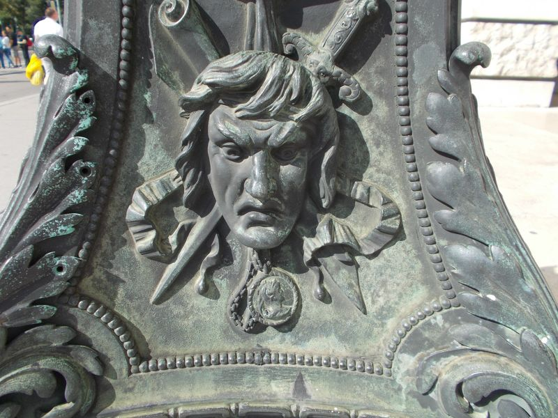 Carving on lampost outside the <br />Burgtheater - Vienna