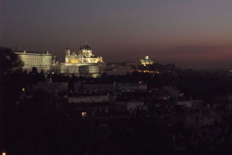 Night view of the cathedral from the park. - Madrid