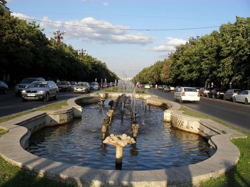 Street based on Champs Elysee leading to Palace of Parliament - Bucharest