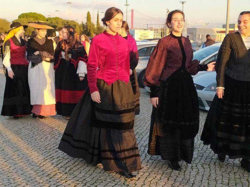 People in traditional Portuguese clothes.