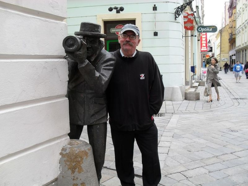 My husband with the papparazi statue - Bratislava