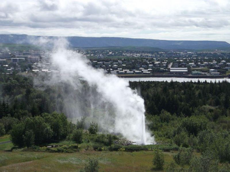 Manmade geyser outside Perlan. - Reykjavík