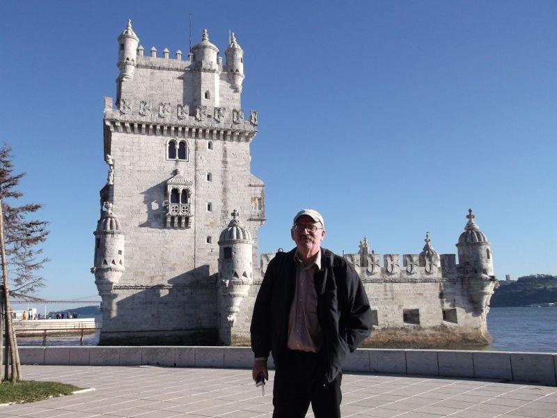 My husband outside Belem tower. - Lisbon