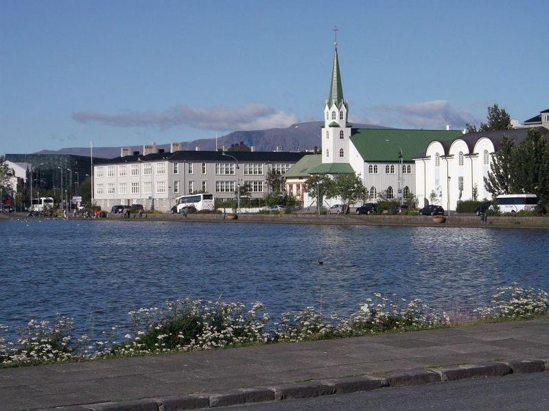 Church on the lake. - Reykjavík