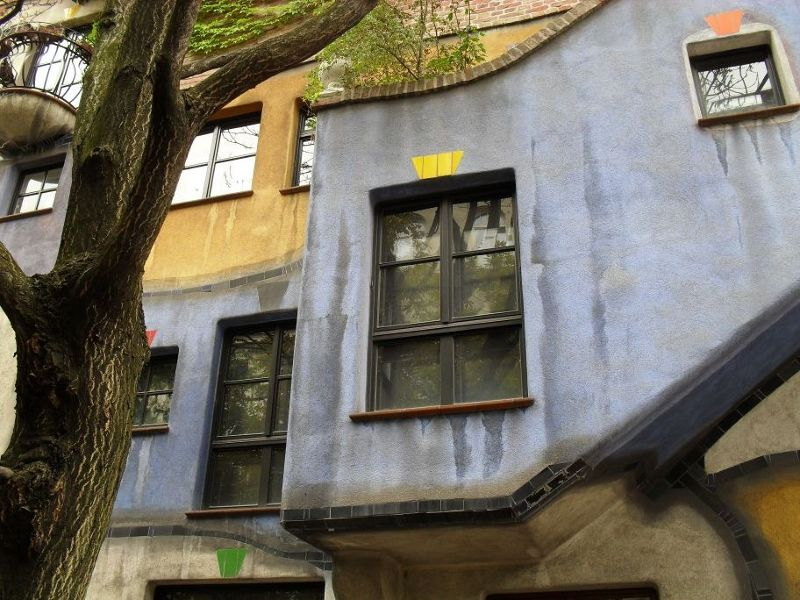 detail of the Hundertwasser Krawinahaus - Vienna