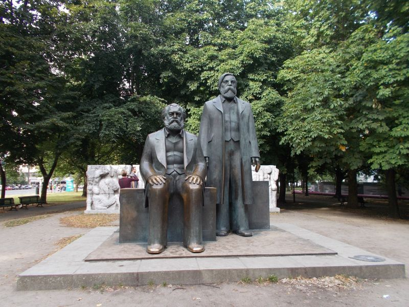 Statues of Karl Marx and Fredriech Engels. - Berlin