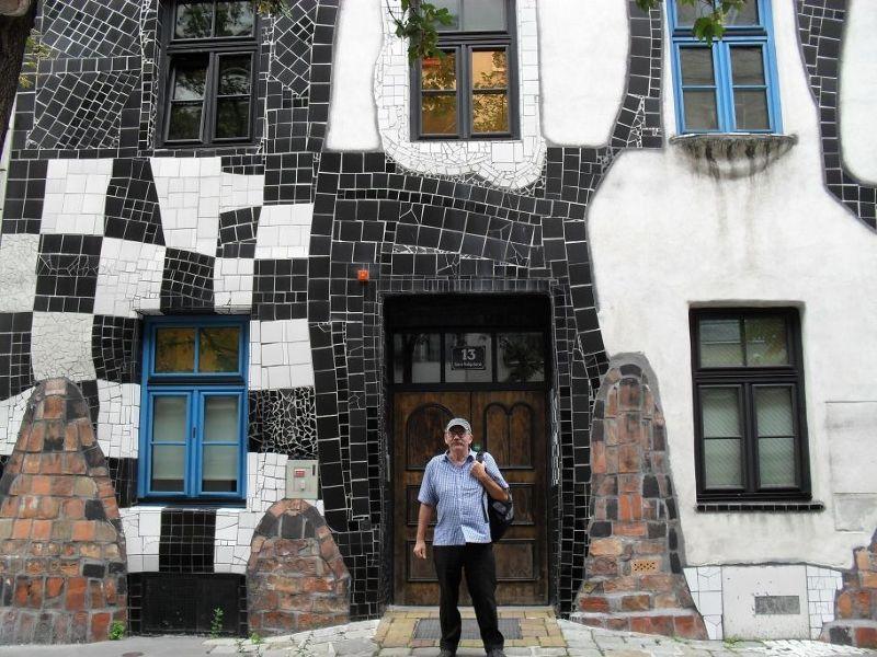 My husband outside Hundertwasser Kunst Haus Museum - Vienna