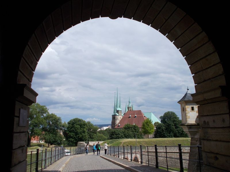 View towards cathedral and church. - Erfurt