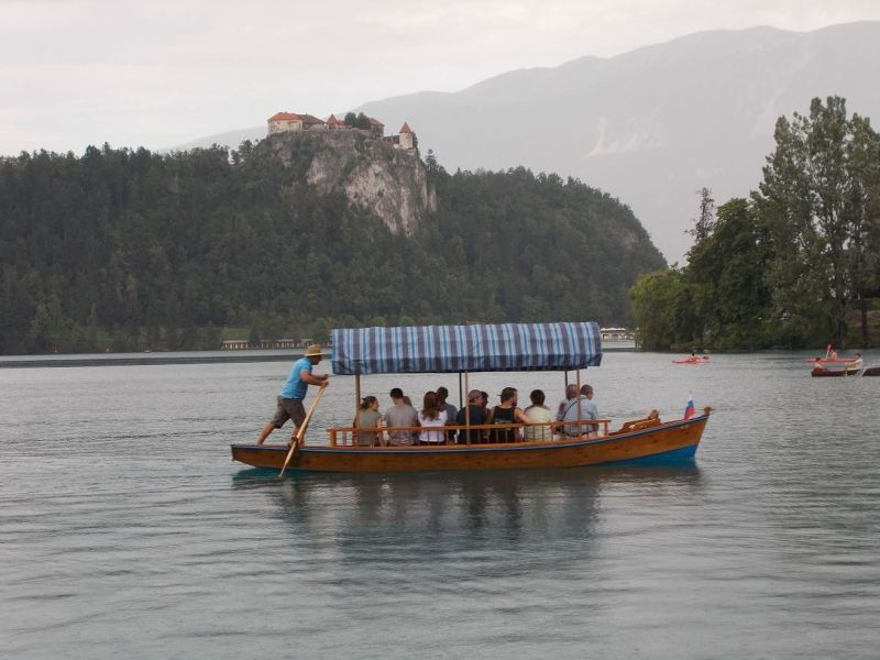 A Pletna Heading for the Shore. - Bled