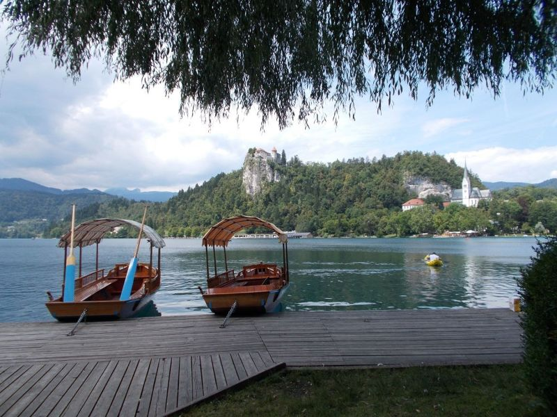 Bled Castle with Pletnas. - Bled