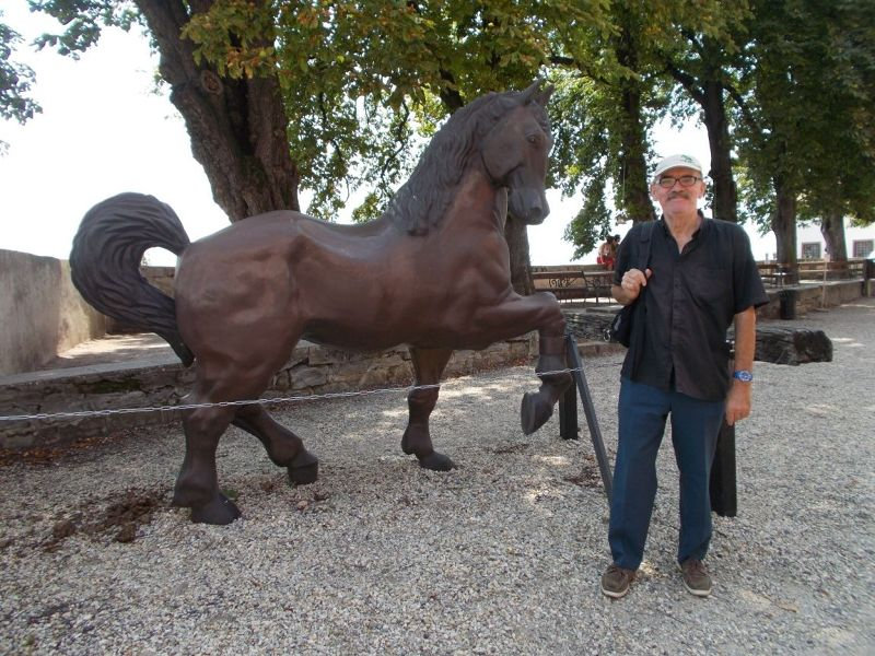 Peter with the horse statue. - Ptuj