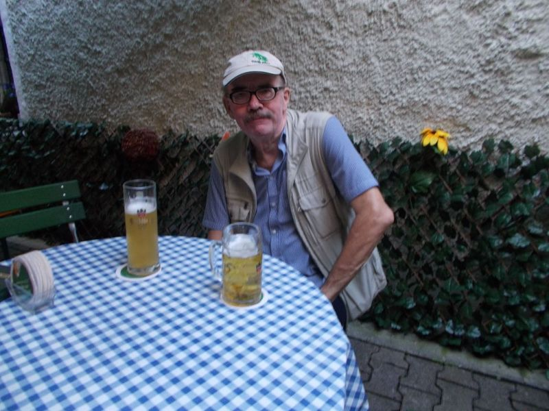 Enjoying a beer in the Welcome. - Passau
