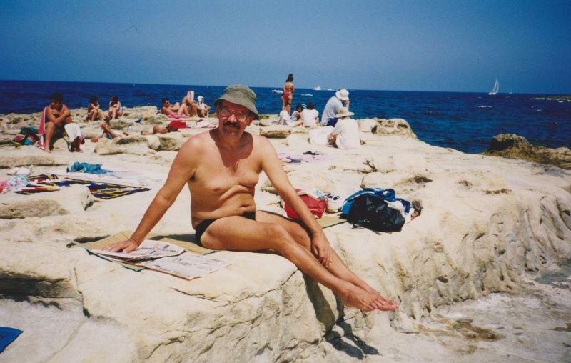 Sunbathing on the rocks, Sliema. - Malta