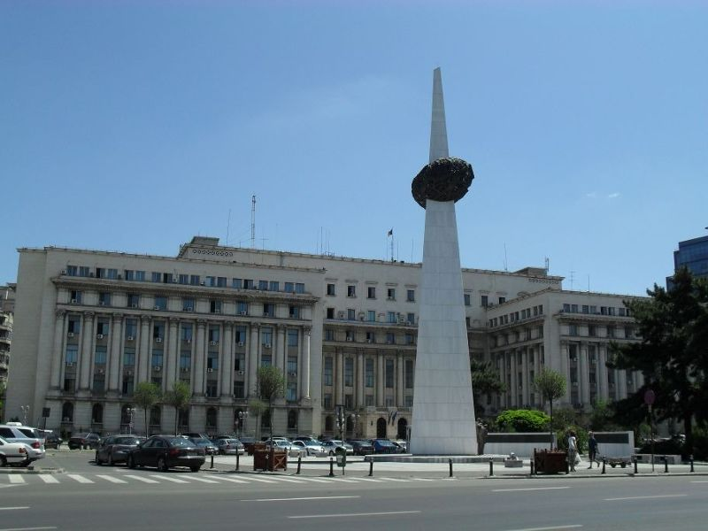 Former Communist Party H.Q. with olive on stick - Bucharest