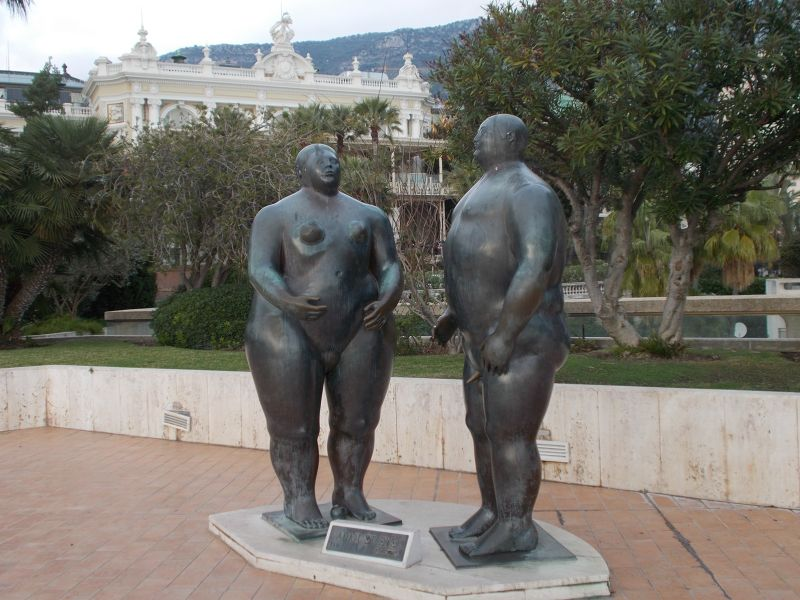Adam and Eve statue outside the casino. - Monaco