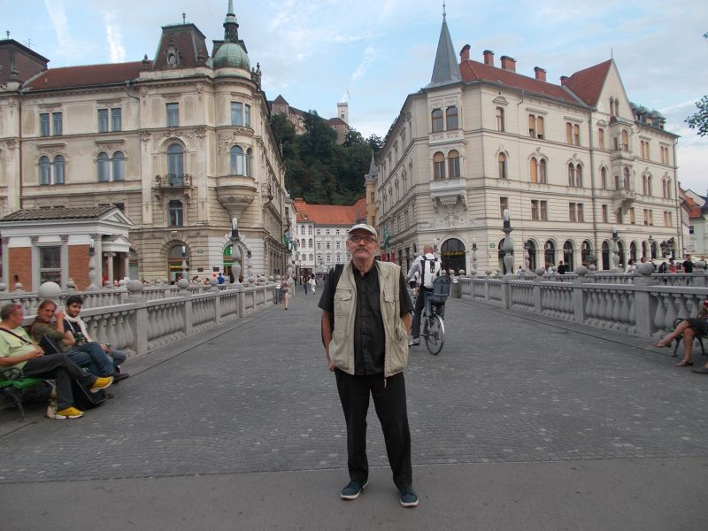 Peter on Triple Bridge - Ljubljana
