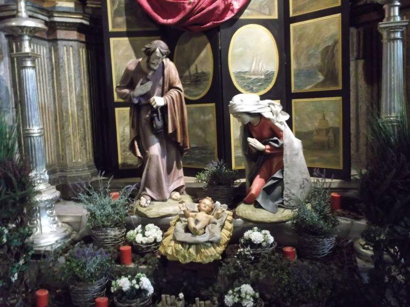 Nativity scene the Jeronimos Monastery. - Lisbon