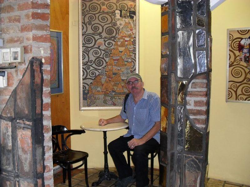 My husband in the Hundertwasser Village - Vienna