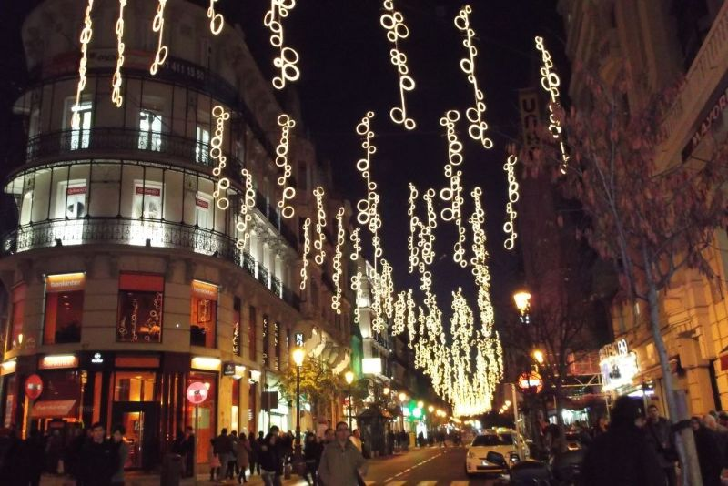 Christmas lights on street just off Puerta Del Sol - Madrid