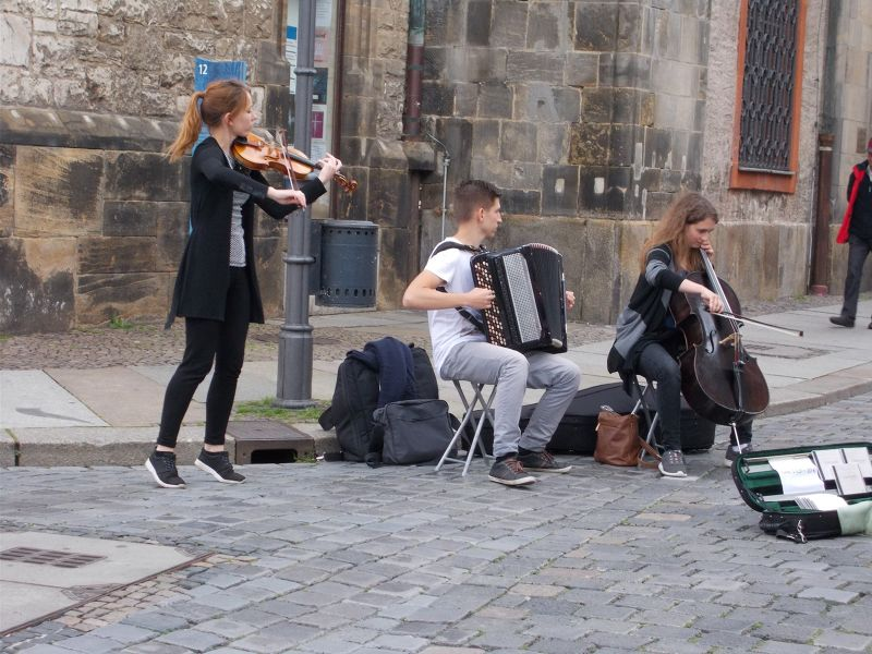 Musicians outside Saint Nicholaus Church. - Leipzig