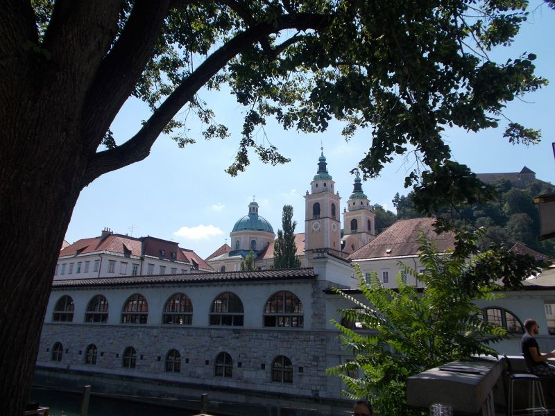 The cathedral from the other side of the river. - Ljubljana