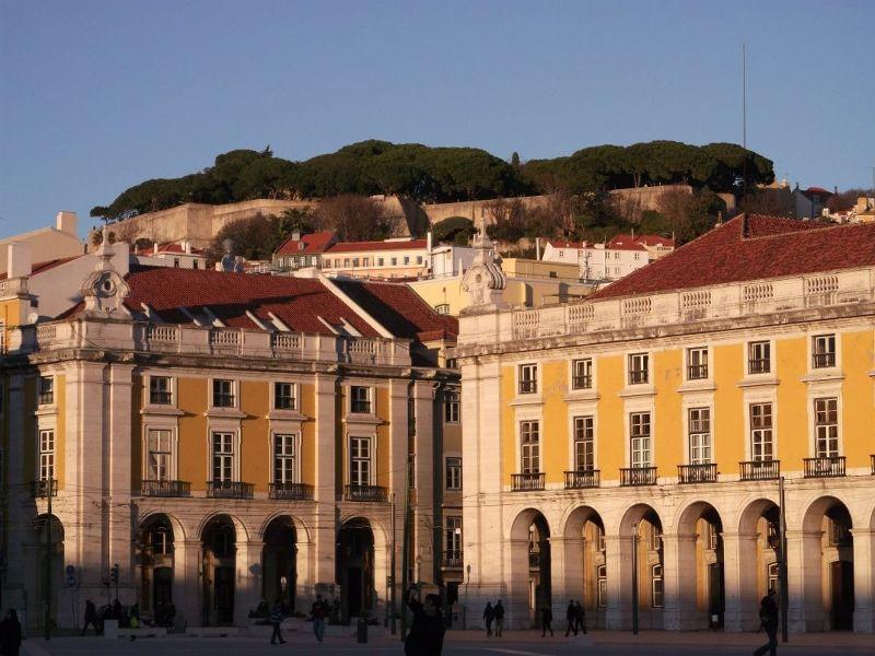 The castle from Commercio Square. - Lisbon