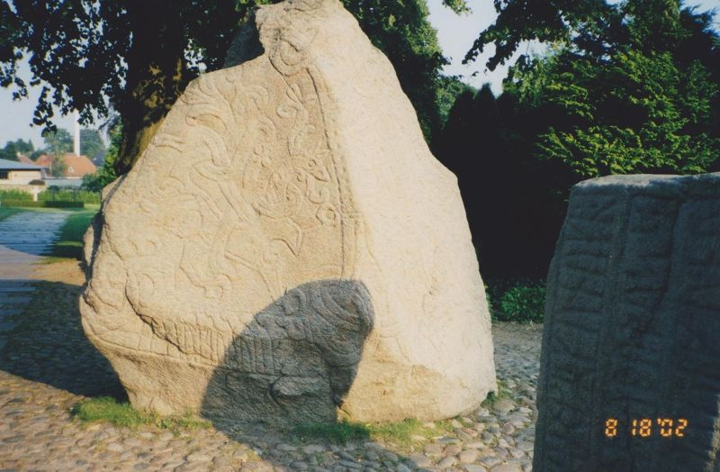Jelling Kirke, Burial Mounds And Rune Stones.