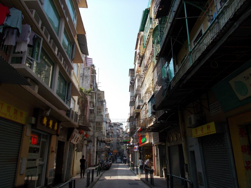 Typical old town Macau street.