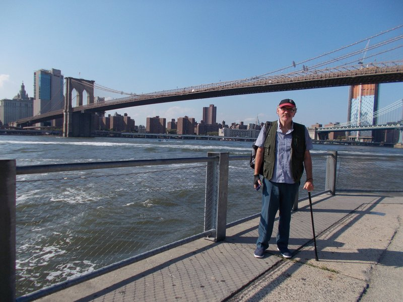 Peter with the Brooklyn Bridge.