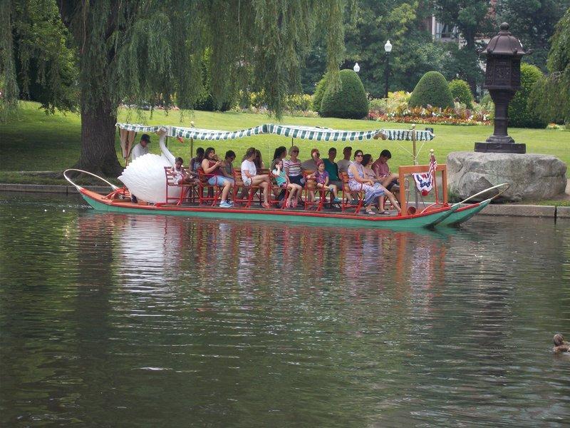 A swan boat.