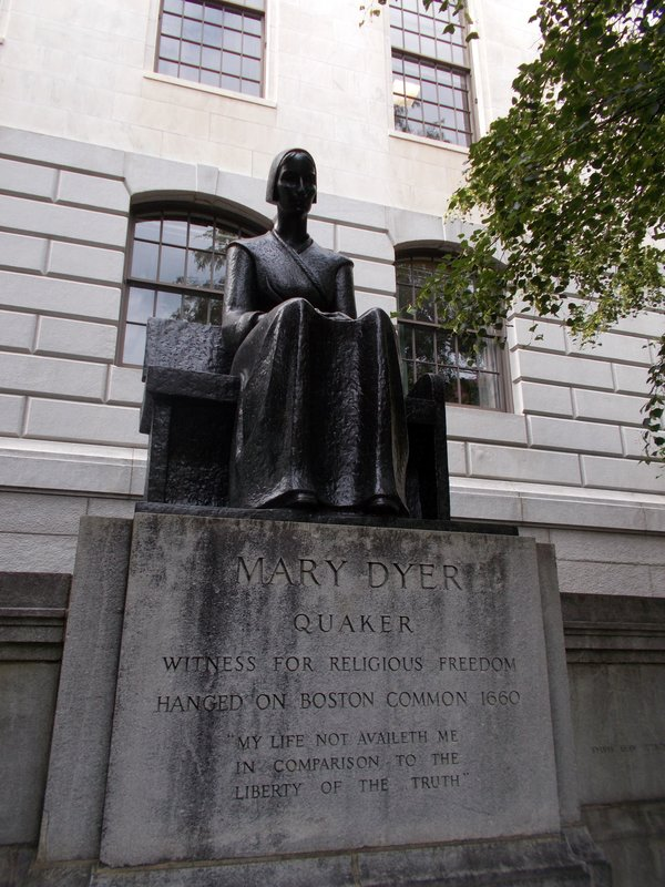 Statue of Mary Dyer outside the State Hall