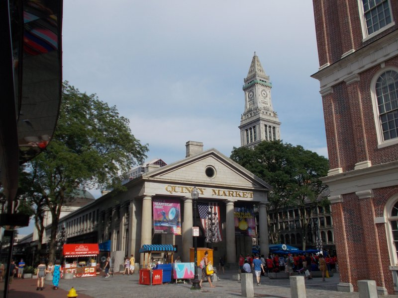 Quincy Market and the Customs House.