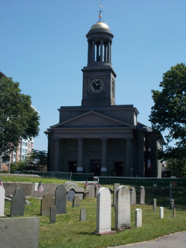 United First Parish Church and Hancock Cemetery.