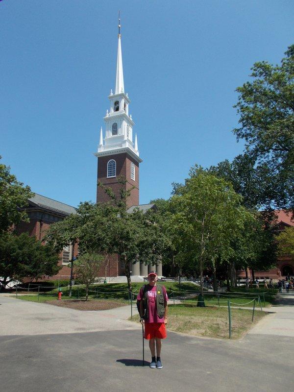 Peter outside Memorial Church.