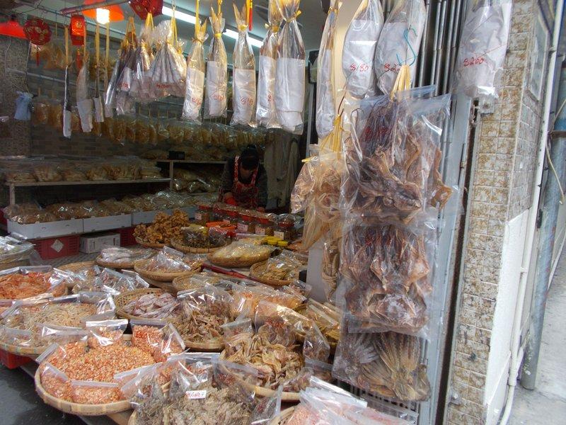 Fish stalls.