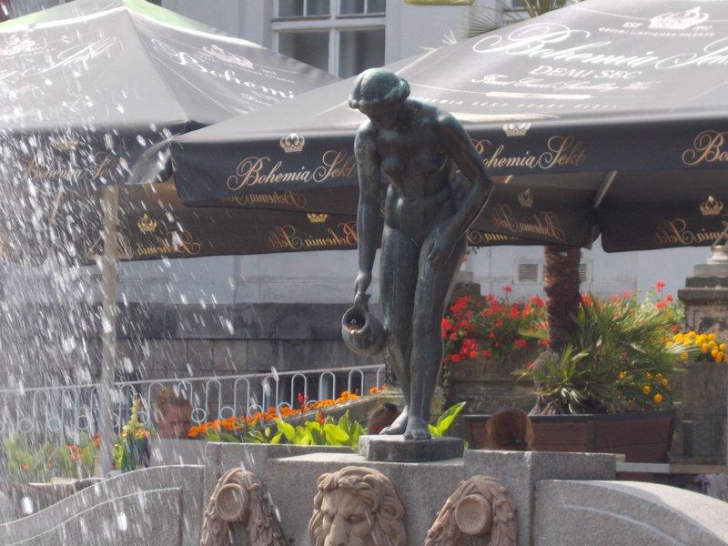 Statue outside bath house.