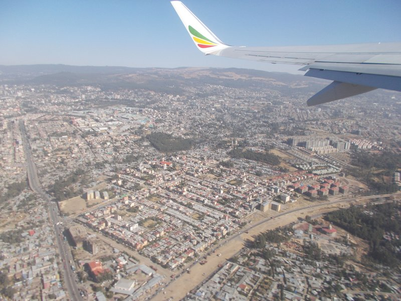 Flying over Addis Ababa.