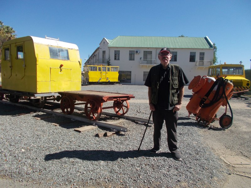Peter with railway vehicles.
