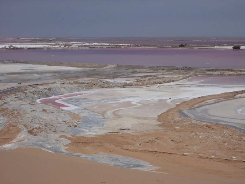 Salt pans and pink water.