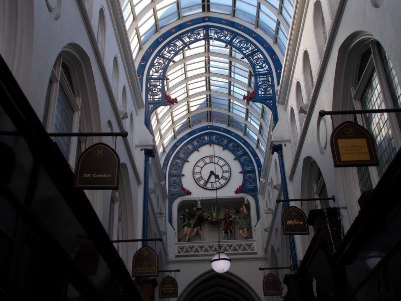 Clock in shopping arcade Leeds.