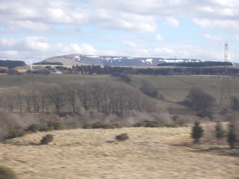 Snow covered hills on our journey to Edinburgh.