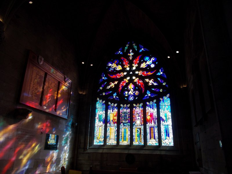 Light through a stained glass window.