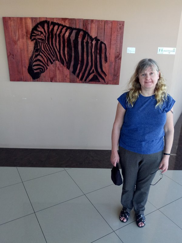 Me with a zebra in the cafe.
